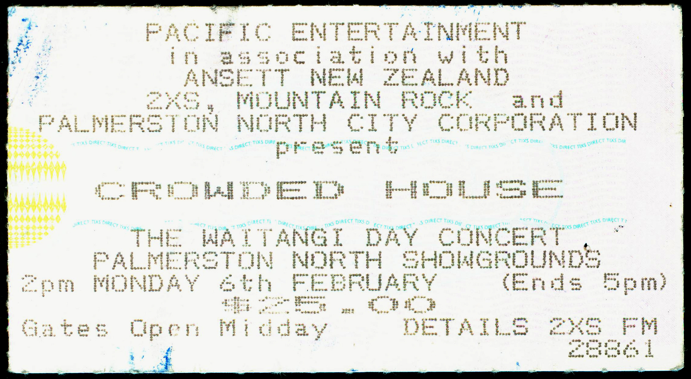Crowded House-Palmerston North-New Zealand-6-Feb-1995-B-ticket-DC Cardwell