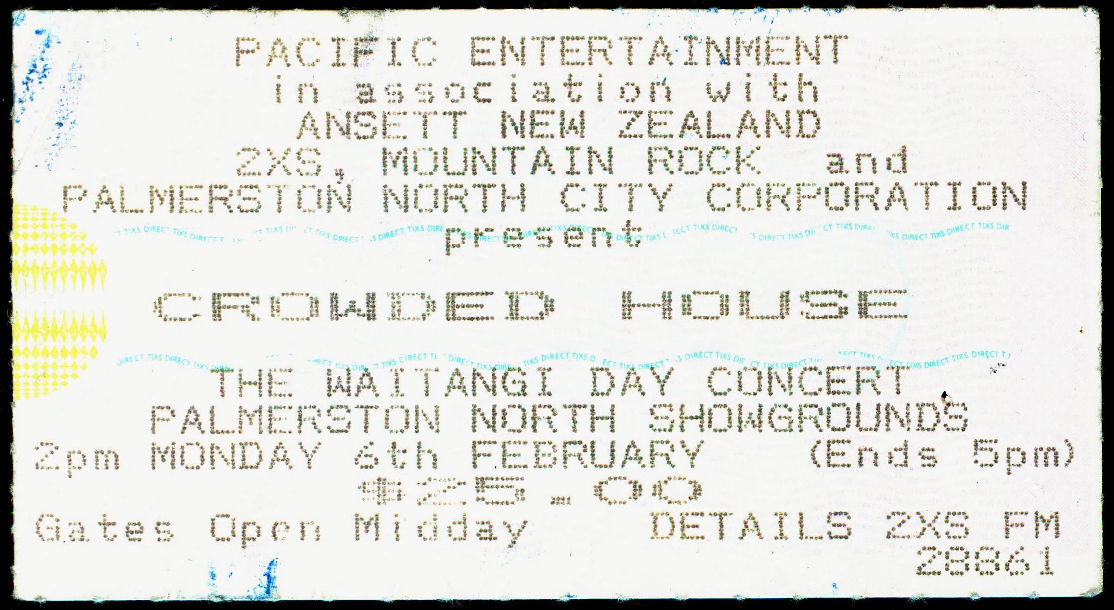 Crowded House-Palmerston North-New Zealand-6-Feb-1995-B-ticket-DC Cardwell