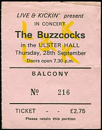 One of our tickets from the Buzzcocks concert, 1978